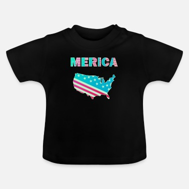 United Merica Map Amerika 4th July USA patriotic - Baby T-Shirt