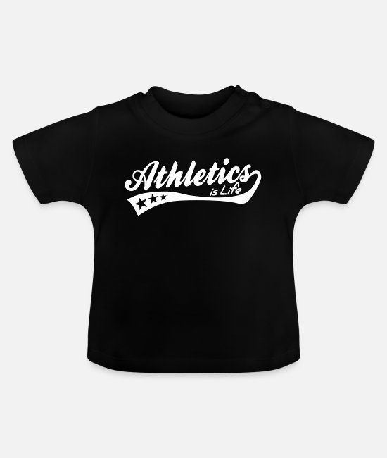Walking Baby T-Shirts - athletics is life - retro - Baby T-Shirt Schwarz