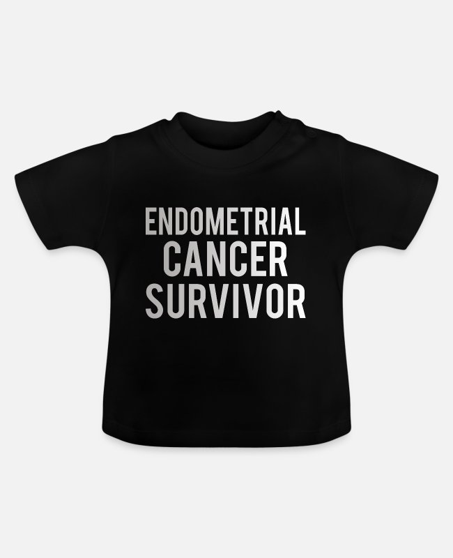 Ribbons Baby T-Shirts - Endometrial Cancer: Endometrial Cancer Survivor - Baby T-Shirt black