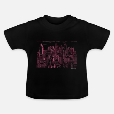 Megacity red city skyline skyscraper live megacity colors - Baby T-Shirt