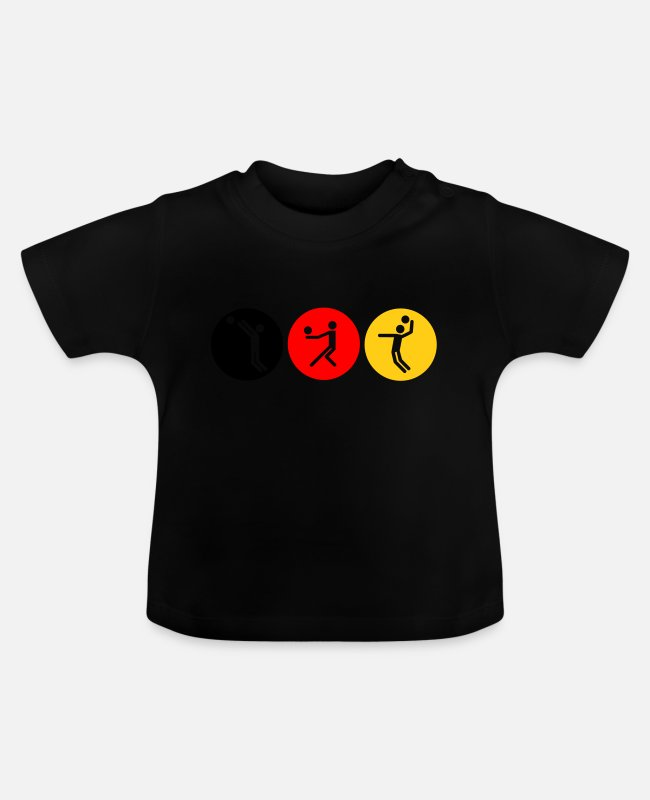 Anmachen Baby T-Shirts - Volleyball symbole tricolor - Baby T-Shirt Schwarz