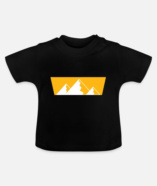 Mountains Baby T-Shirts - Retro Mountains Print Design - Baby T-Shirt black
