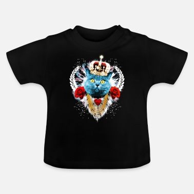 I-love-the-blues Blue Cat The King - Katze Krone Rosen Lorbeer - Baby T-Shirt