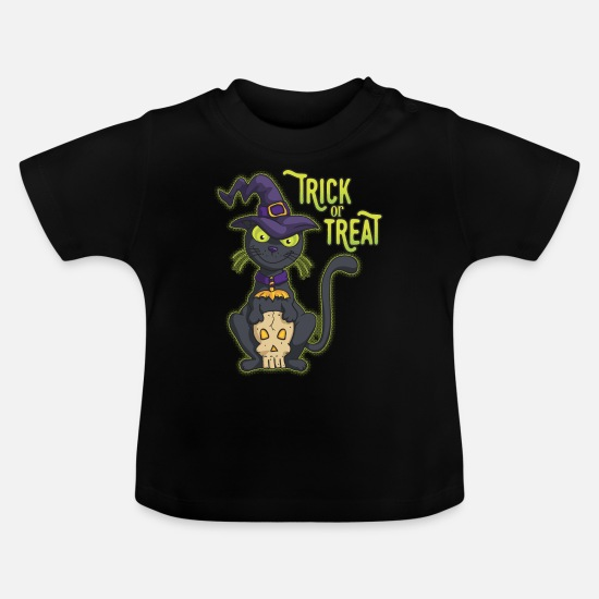 Halloween Baby Clothes - Halloween Black Witch Cat Trick or Treat - Baby T-Shirt black