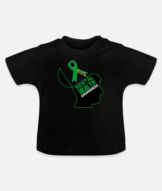 Mental Health Baby Clothes - Be aware that mental health is important - Baby T-Shirt black
