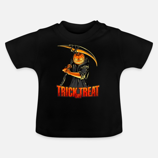 Jackolantern Baby Clothes - Horror Pumpkin Scythe Trick or Treat Halloween - Baby T-Shirt black