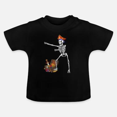 Pirata Pirata Flossing Float del cranio dello scheletro di Halloween - Maglietta  neonato 3f958d175f9b