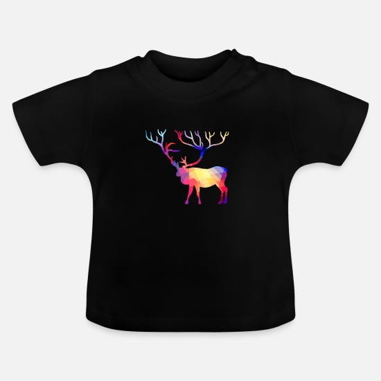Stag Baby Clothes - Deer hunter multicolored with deer antlers - Baby T-Shirt black