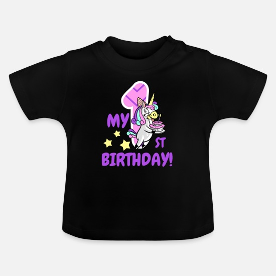 Birthday Baby Clothes - My first birthday unicorn - Baby T-Shirt black