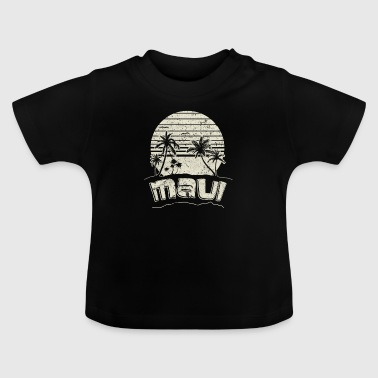 Long Beach Maui Sunset Beach Vacation Paradise Island Retro White - Baby T-Shirt