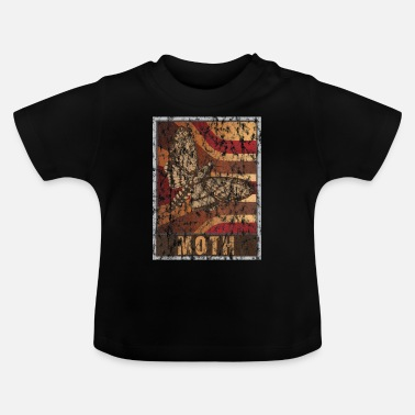 Rups Retro Moth Poster Distressed Look - Baby T-shirt