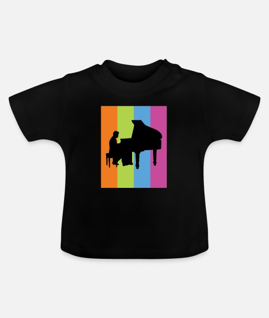 Piano Baby Clothes - Piano Gift Piano Instrument Music - Baby T-Shirt black