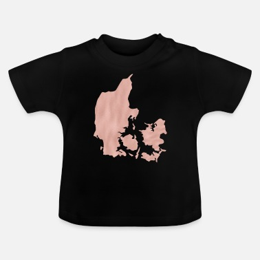 Shilouette Denmark maps Shilouette in pink map - Baby T-Shirt