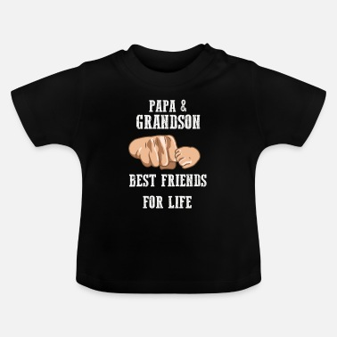 Grandson Papa and Grandson Best Friends Grandpa Grandfather - Baby T-Shirt