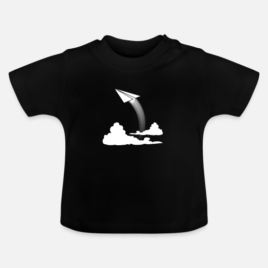 Birthday Baby Clothes - Paper airplane gift paper airplane - Baby T-Shirt black