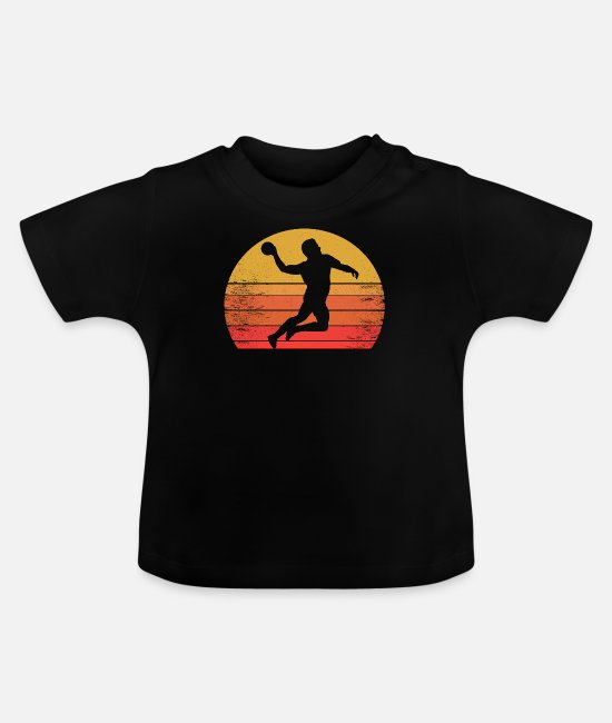 Training Baby T-Shirts - Handball player in the sunrise, sunset - Baby T-Shirt black