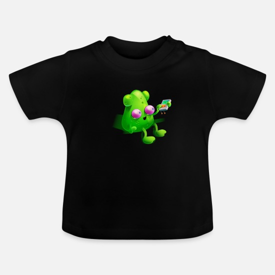 Area 51 Baby Clothes - Alien with MP3 player | Fun Area Gift 51 - Baby T-Shirt black