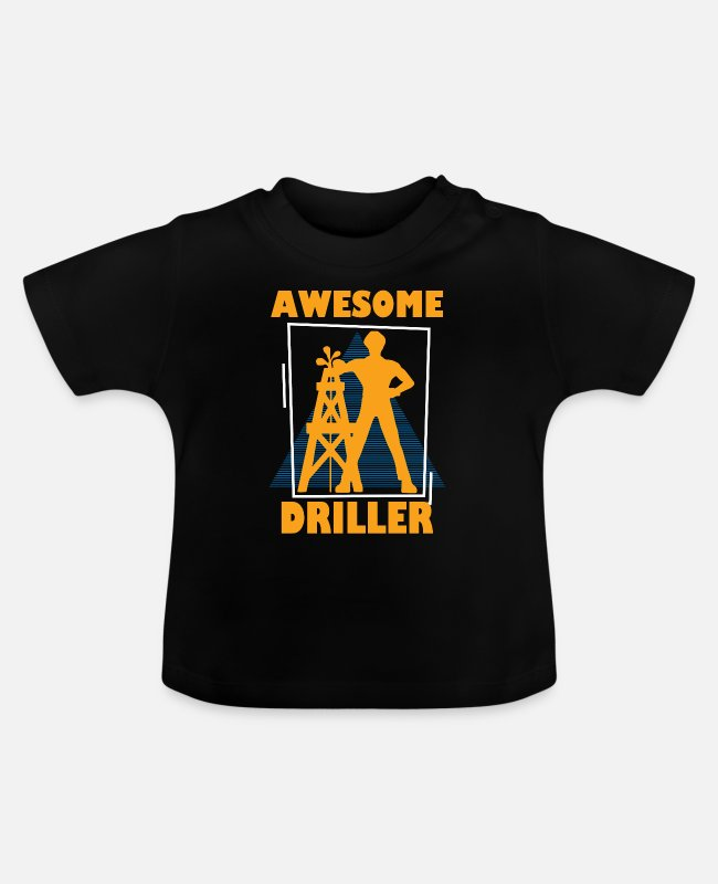 Occupation Baby T-Shirts - Retro Driller Graphic T-Shirt - Baby T-Shirt black