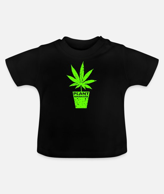 Grow Baby T-Shirts - Plant manager - Grower cannabis hemp leaf - Baby T-Shirt black