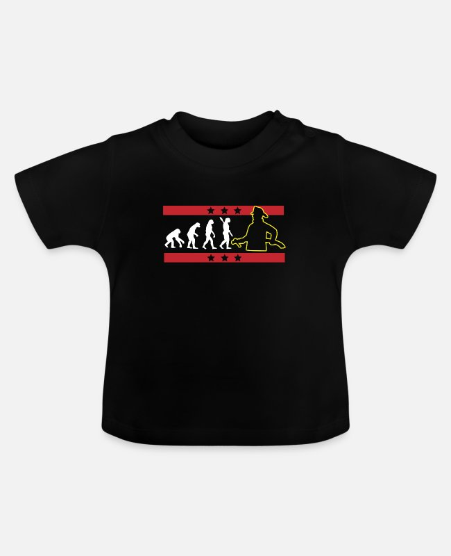 Fire Department Baby T-Shirts - EVOLUTION FIREFIGHTER FIREFIGHTER FIREFIGHTER - Baby T-Shirt black