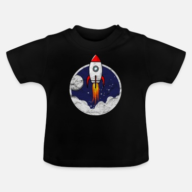 Moon Space Shuttle Small rocket for kids grunge - Baby T-Shirt