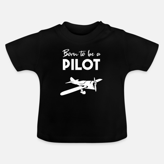 Plane Baby Clothes - Pilot plane travel - Baby T-Shirt black