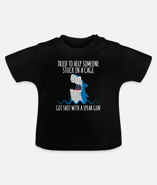 Pond Baby T-Shirts - Shark cage fun design. - Baby T-Shirt black