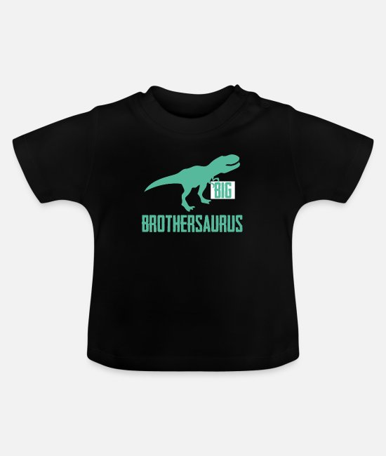 Reptile Baby T-Shirts - Big Brothersaurus Big Brother Announcement Dino - Baby T-Shirt black