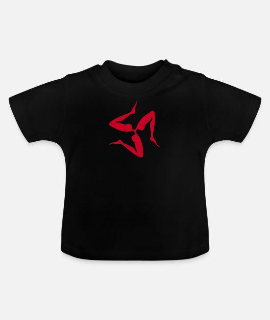 Sicily Baby T-Shirts - Sicilian Three Legs Symbol in Japanese Red | - Baby T-Shirt black
