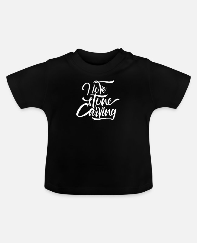 Occupation Baby T-Shirts - Stone carving stonecutter profession stone stonecutter - Baby T-Shirt black