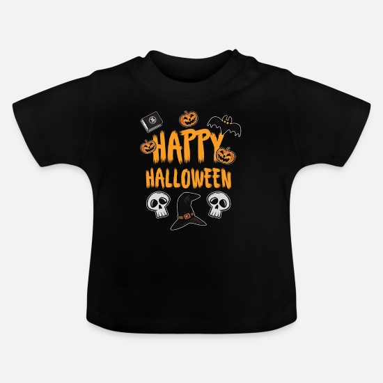 Bat Baby Clothes - Happy Halloween - Baby T-Shirt black