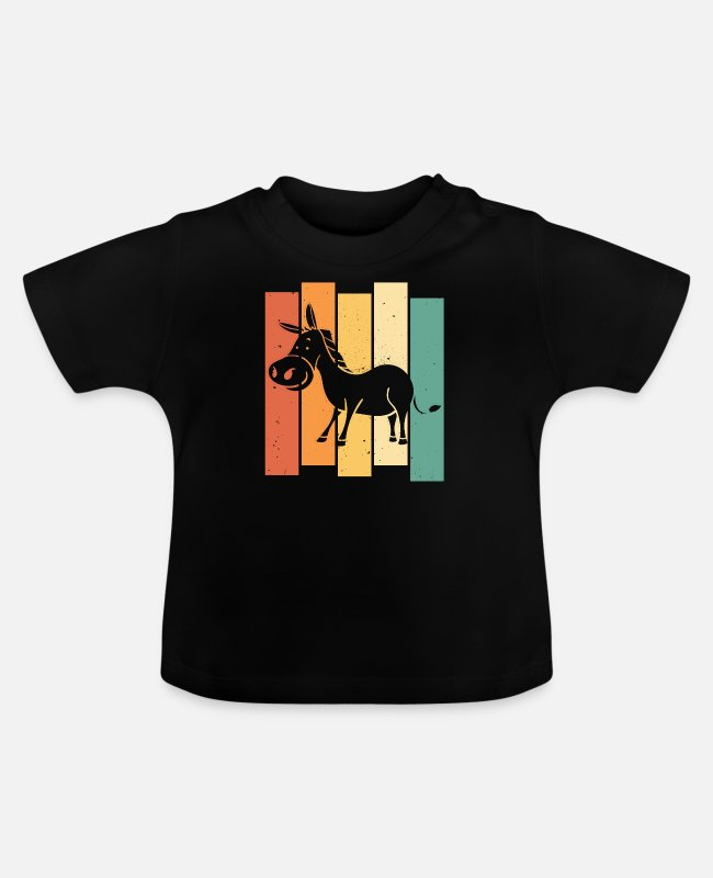 Christmas Baby T-Shirts - Donkey Funny Cute Housewife Vintage Retro - Baby T-Shirt black
