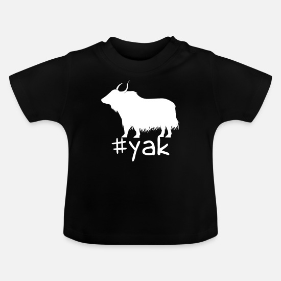 Hashtag Baby Clothes - Funny Yak Hashtag - Baby T-Shirt black
