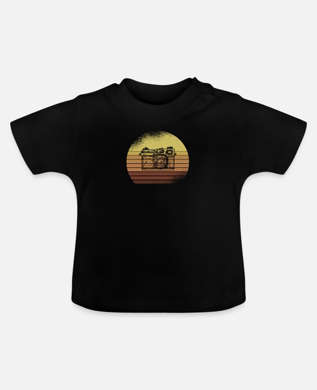 Fotograf Baby T-Shirts - Retro Photography with Vintage Camera - Baby T-Shirt Schwarz