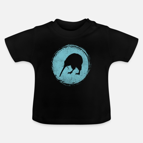 National Babykleidung - Neuseeland Kiwi Backpacker - Baby T-Shirt Schwarz