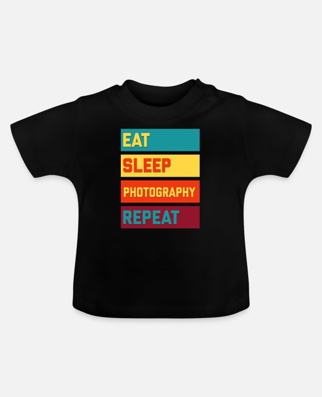 Training Baby T-Shirts - Eat Sleep Photography Repeat Retro Edition - Baby T-Shirt Schwarz