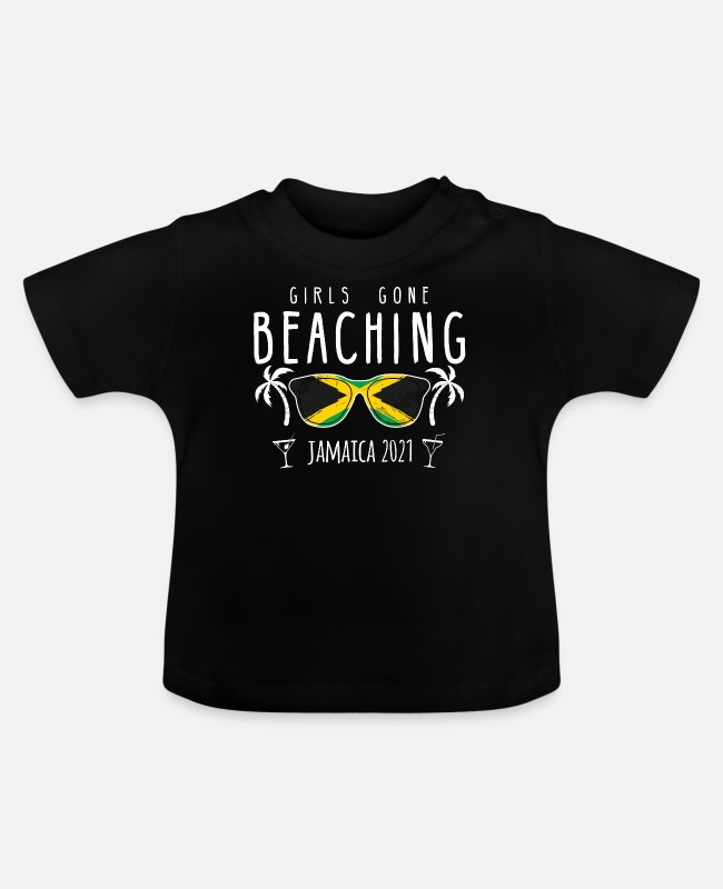 Meisjesreis Jamaica 2021 Baby shirts - Girls Gone Beaching Bachelorette Girls Trip - Baby T-shirt zwart