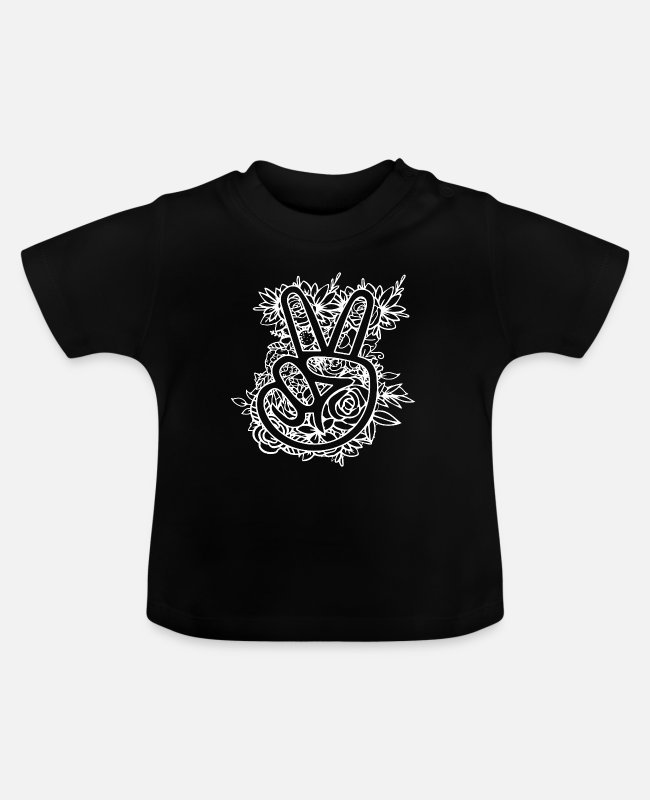 Heart Baby T-Shirts - Peace sign - Baby T-Shirt black