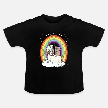 Galaxy Pug rides Unicorn Galaxy space funny child baby - Baby T-Shirt