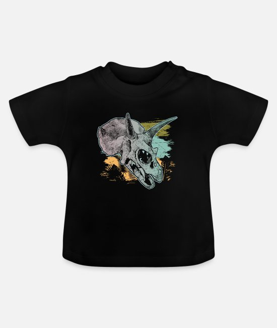 Primeval Times Baby T-Shirts - Triceratops skull wilderness bone fossil primeval time - Baby T-Shirt black
