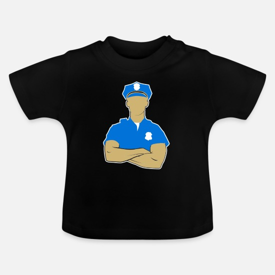 Birthday Baby Clothes - Policeman Police Officer Gift Uniform Blue - Baby T-Shirt black