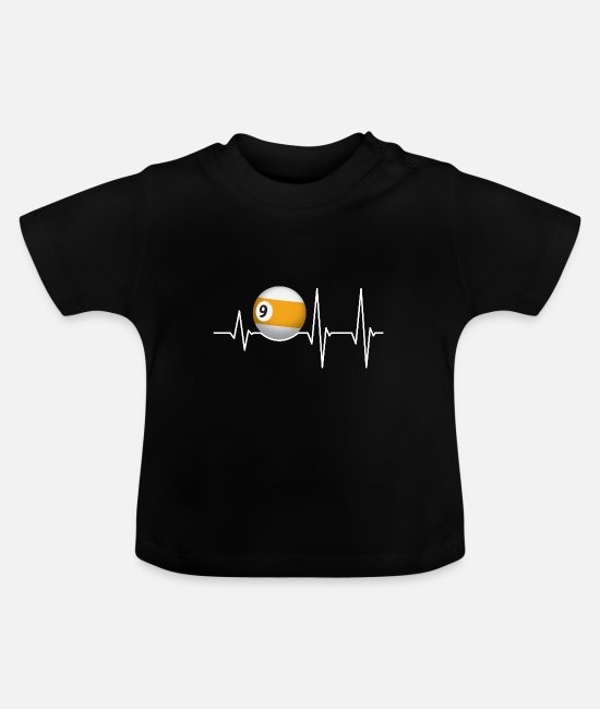 Training Baby T-Shirts - Heartbeat Pool Billiard Player Sportfan 9er Ball - Baby T-Shirt black