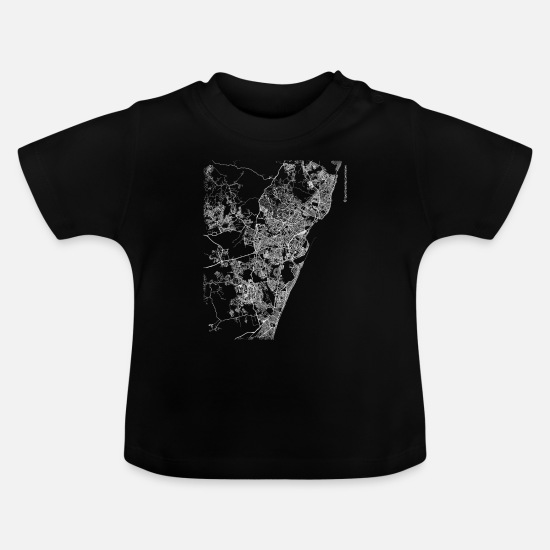 Area Baby Clothes - Minimal Recife city map and streets - Baby T-Shirt black