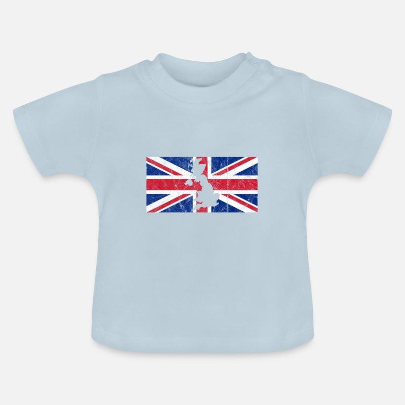 Großbritannien Karte Umriss.Uk Großbritannien Flagge Union Jack Umriss Karte Baby T Shirt Hellblau