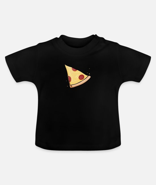 Pizza Baby T-Shirts - Pizza Baby Partnerlook Kind Mama Papa Geschenk - Baby T-Shirt Schwarz