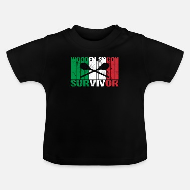 Friends Of Italy Wooden Spoon Survivor With Italy Flag - Baby T-Shirt