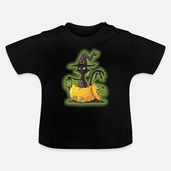 Halloween Baby Clothes - Halloween Black Witch Cat in Pumpkin - Baby T-Shirt black