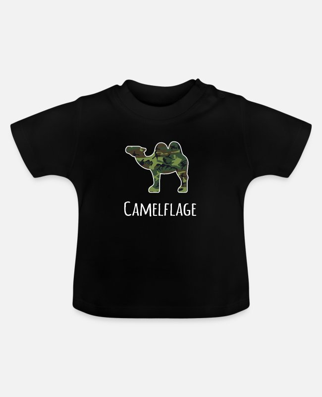 Camelflage Baby T-Shirts - Camelflage Funny Camel design - Baby T-Shirt black