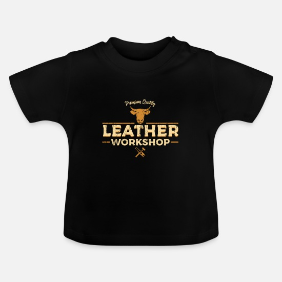 Leather Baby Clothes - Leather Hand Workshop - Baby T-Shirt black