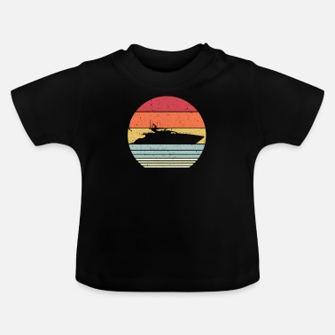 Up Yacht Print. Retro Style Boat Graphic - Baby T-Shirt